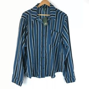 Wild Fable XL Striped Blouse Button Down Pocket